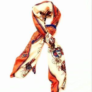 Iconic orange horseman long silk ornate scarf 🐎